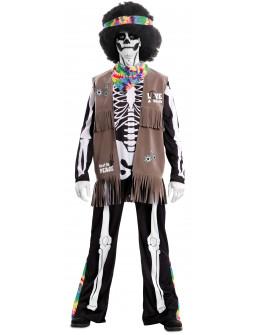 Disfraz de Esqueleto Hippie para Adulto