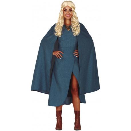 Disfraz de Daenerys Azul con Capa para Mujer