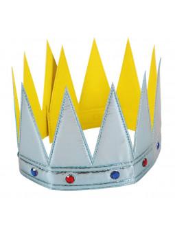 Corona de Rey Infantil Plateada con Pedrería