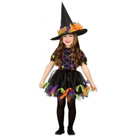 Disfraz de Bruja con Lunares Multicolor para Niña