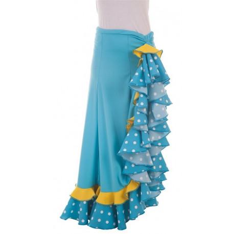 Falda Flamenca Turquesa y Amarilla para Mujer