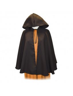 Capa Medieval Negra Corta con Capucha