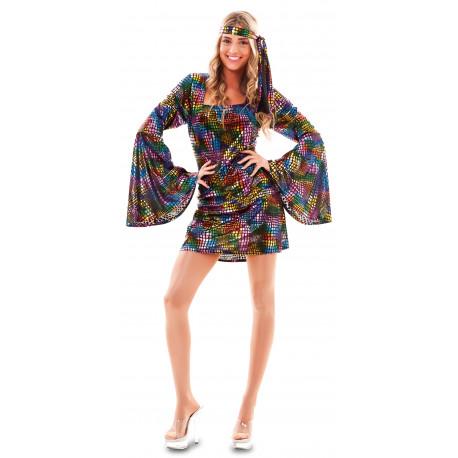 Disfraz Disco Multicolor Corto para Mujer