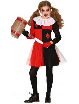 Disfraz de Arlequina Siniestra para Niña