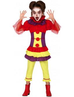 Disfraz de Payasa Asesina Colorida para Niña