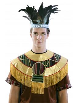 Penacho Azteca con Plumas de Pavo Real