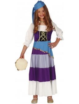 Disfraz de Gitana Morado para Niña