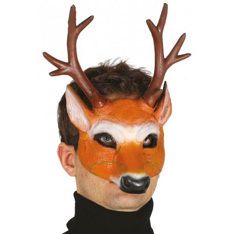 Media Máscara de Ciervo con Cuernos