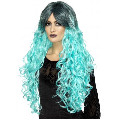 Peluca Azul Bicolor con Ondas