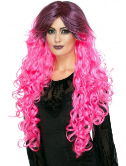Peluca Rosa Bicolor con Ondas
