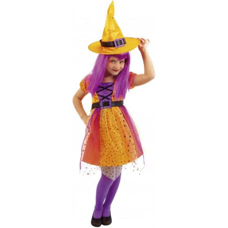 Disfraz de Bruja Naranja y Morado para Niña