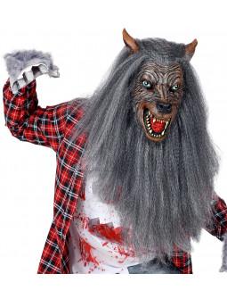 Máscara de Hombre Lobo con Pelo Largo Gris