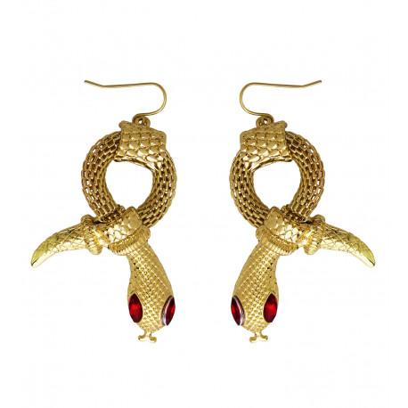 Pendientes de Egipcia Dorados con Forma de Serpiente