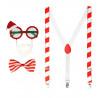 Kit de Papá Noel con Gafas , Pajarita y Tirantes