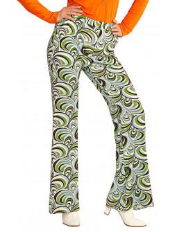 Pantalones de Campana Disco con Ondas para Mujer