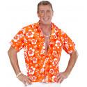 Camisa Hawaiana Naranja con Flores para Hombre