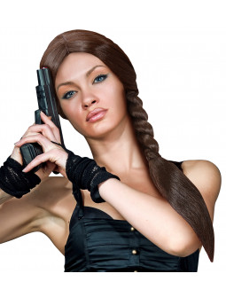 Peluca Lara Croft Castaña con Trenza