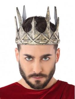 Corona de Rey Medieval Plateada de Foam