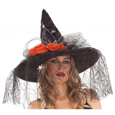 Sombrero de Bruja Negro con Velo y Lentejuelas
