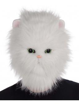 Máscara de Gato Persa Blanco con Pelo