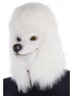 Máscara de Perro Caniche Blanco con Pelo