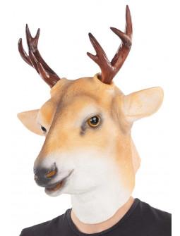 Máscara de Ciervo de Látex con Cuernos