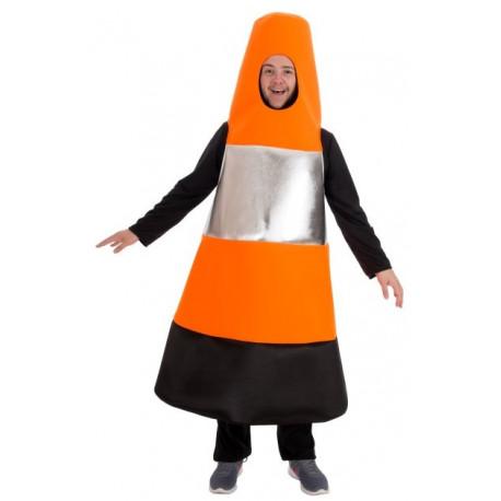 Disfraz de Cono Naranja de Tráfico para Adulto