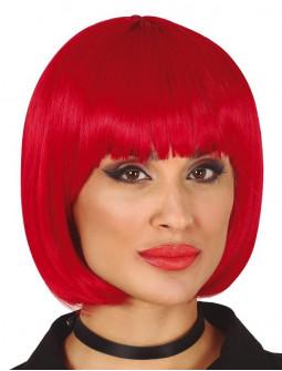 Peluca Roja Lisa con Media Melena y Flequillo