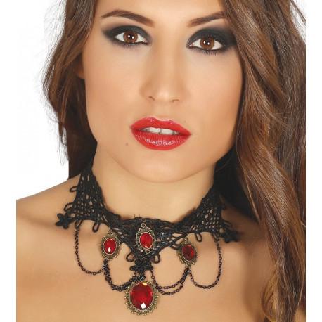 Collar de Vampiresa Negro con Piedras Rojas