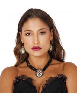 Collar y Pendientes de Catrina Muerte Mexicana