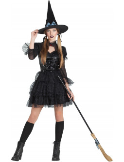 Disfraz de Bruja Negra Corto para Mujer