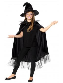 Kit de Bruja Negra Infantil con Gorro y Capa