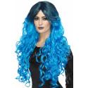 Peluca Azul con Melena Larga y Raíz Oscura