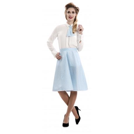 Falda Pin Up Azul con Lunares y Pañuelo para Mujer