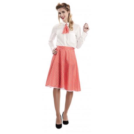 Falda Pin Up Roja con Lunares y Pañuelo para Mujer