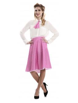 Falda Pin Up Rosa con Lunares y Pañuelo para Mujer