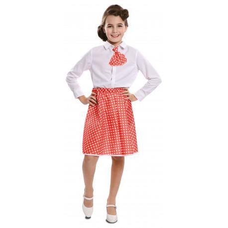 Falda Pin Up Roja con Lunares y Pañuelo para Niña