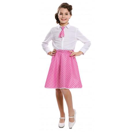 Falda Pin Up Rosa con Lunares y Pañuelo para Niña