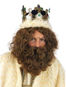 Peluca de Rey Mago Gaspar Castaña con Barba