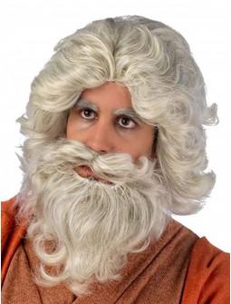 Peluca de Rey Mago Melchor Gris con Barba