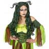 Peluca de Bruja del Bosque Verde con Cuernos
