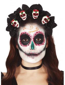 Diadema de Catrina con Calaveras Mexicanas y Rosas