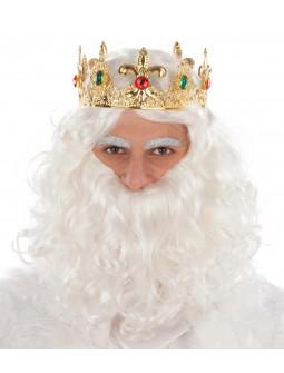 Corona de Rey Mago Dorada Metálica con Pedrería