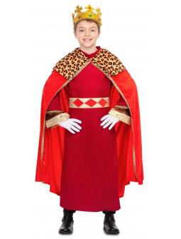 Disfraz de Rey Mago con Capa Roja Infantil