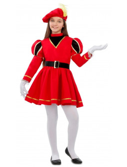 Disfraz de Paje Reyes Magos Rojo para Niña