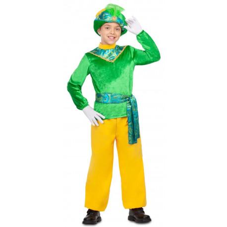 Disfraz de Paje Reyes Magos Verde para Niño
