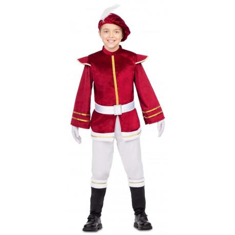 Disfraz de Paje Reyes Magos Granate para Niño
