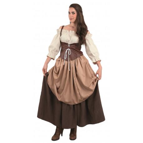 Disfraz de Campesina Medieval Marrón para Mujer