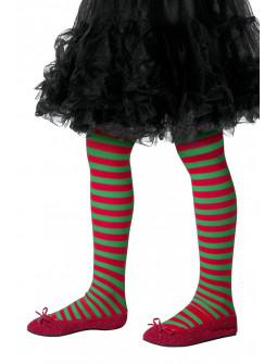 Pantys de Elfa Infantiles con Rayas Rojas y Verdes