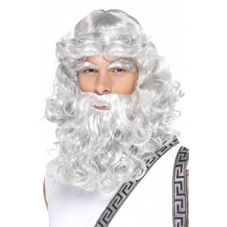 Peluca de Dios Griego Gris con Barba y Cejas